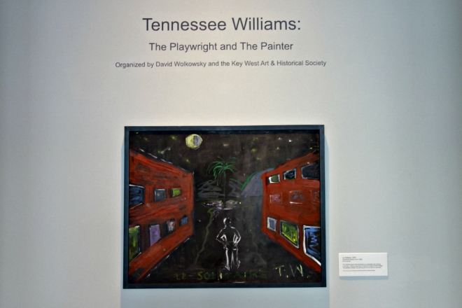 "nstallation view of 'Tennessee Williams: The Playwright and the Painter' with ""Le Solitaire"" (1976) (photo by the author for Hyperallergic)"