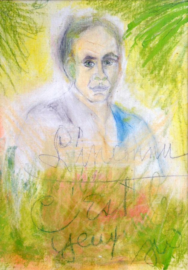 "Tennessee Williams, ""L'inconnu: C'est les Yeux"" (1981), pastel on canvas board"