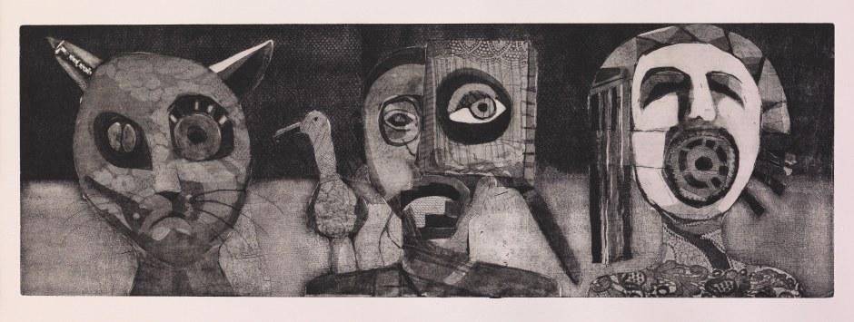 Οι τρεις μας.Οξυγραφία 24Χ69 εκ. Χριστόφορος Κατσαδιώτης
